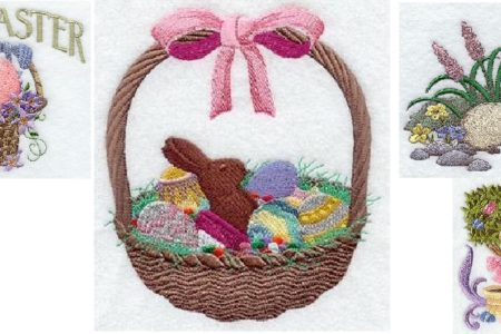 Embroidered Easter Hand Towels