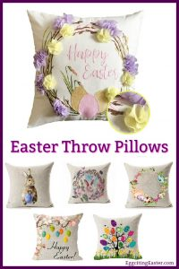 4TH Emotion Watercolor Spring Happy Easter Wreath Rabbit Throw Pillow Cover Cushion Case 18 x 18 inch Cotton Linen Home Decor